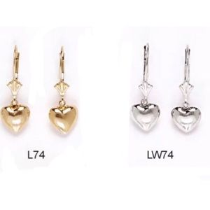 14K Pure Solid Yellow//White Gold Dangle Drop Ball Earrings